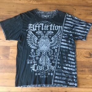 Affliction Live Fast Grey T Shirt Mens Size XXL
